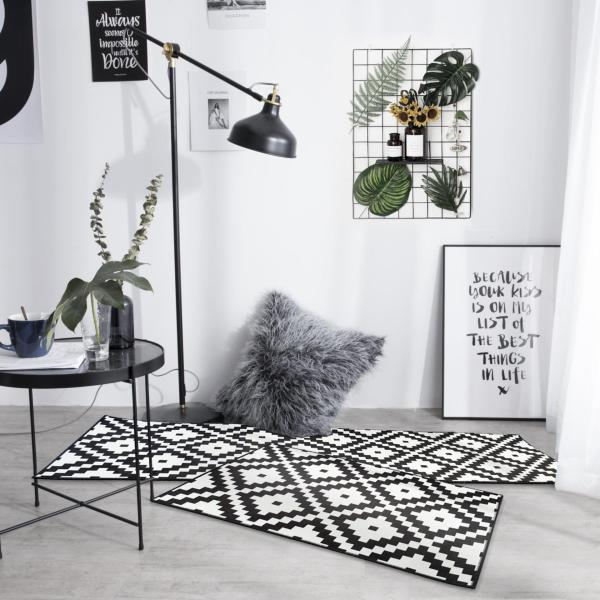 Black Kitchen 2pcs/set Floor Mat Geometric Pattern Area Rugs Carpets Doormat (40*60+40*120)