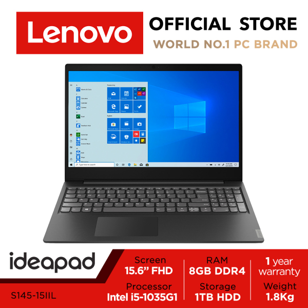 【Express Delivery】Lenovo ideapad S145 | 15.6inch FHD | i5-1035G1 | 8GB RAM | 1TB HDD | Win10 Home| 1Y warranty