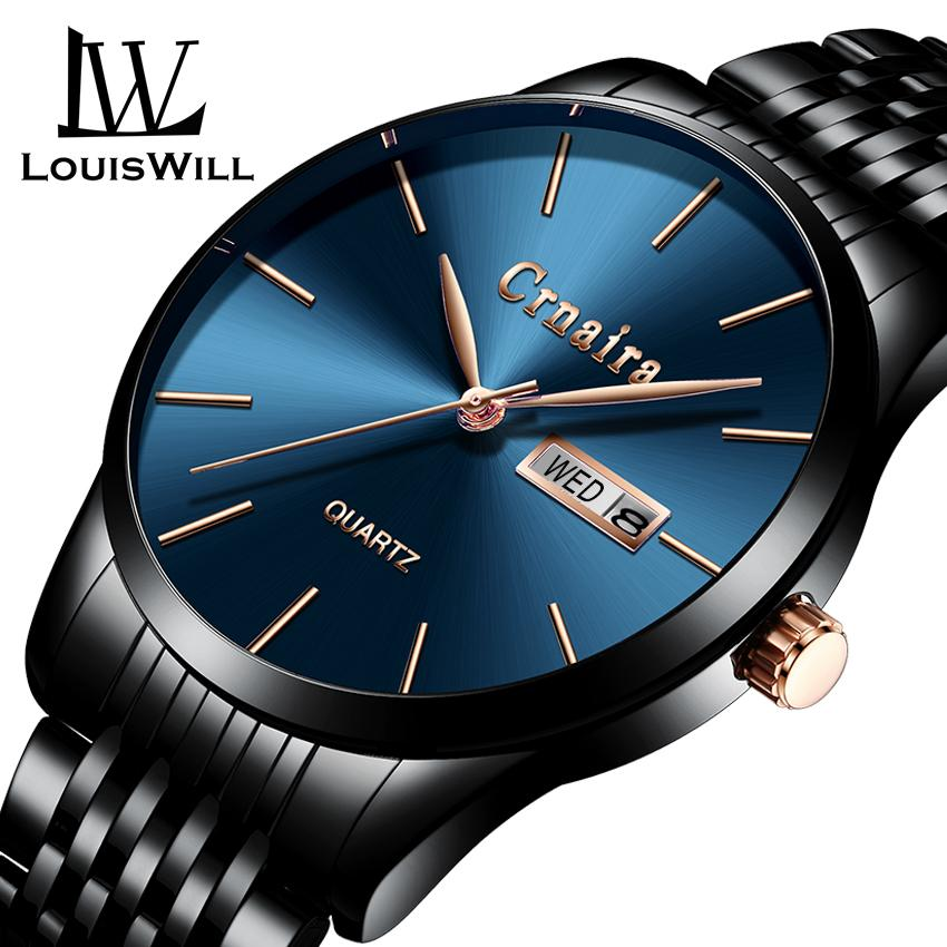 LouisWill Men Sports Watches 30M Waterproof Watch Mens Stainless Steel Band Machinery Sport Quartz Watches Calendar New Men Fashion Wristwatches Malaysia