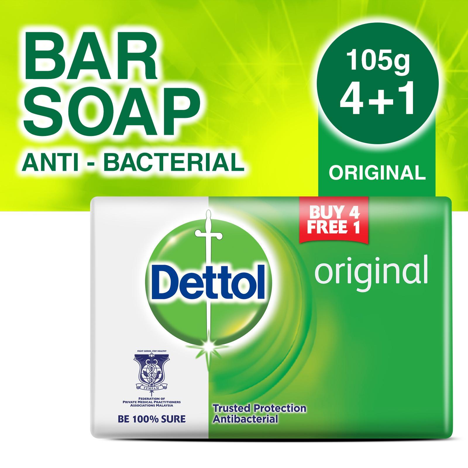 4+1 free Dettol Anti-Bacterial Bar Soap Original 105G