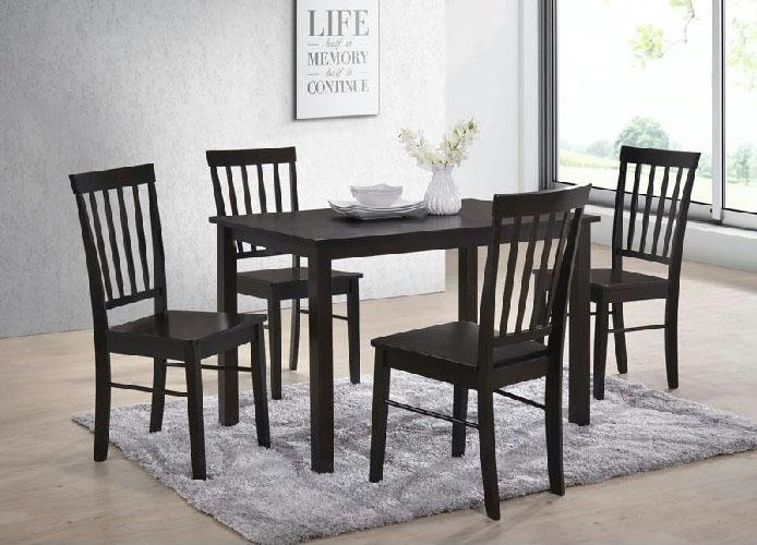 [A-STAR] (1+4) Solid Wooden Dining Set in walnut