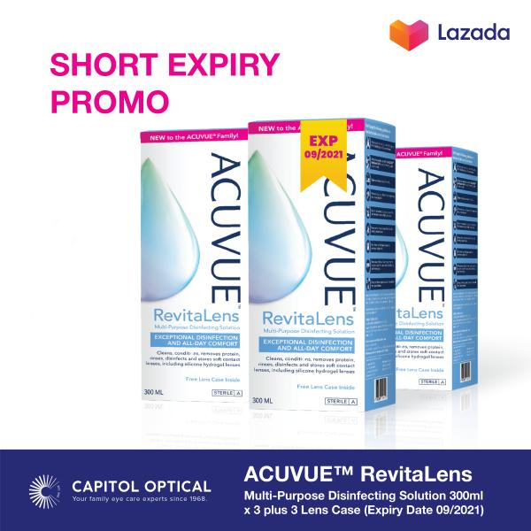 Buy Short Expiry Promo: ACUVUE™ RevitaLens Multi-Purpose Disinfecting Solution 300ml x 3 plus 3 Lens Case Singapore