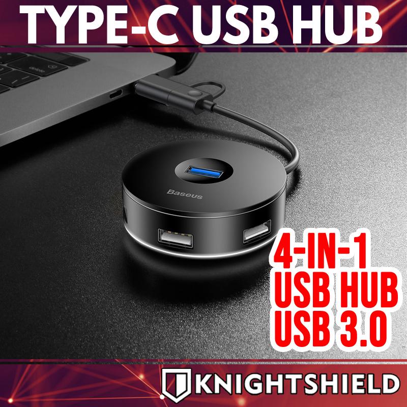 Knightshield Baseus 4-in-1 Round Box Type C USB Hub Adapter USB Hubs Adaptor USB C charger USB C Hub SD Card Reader