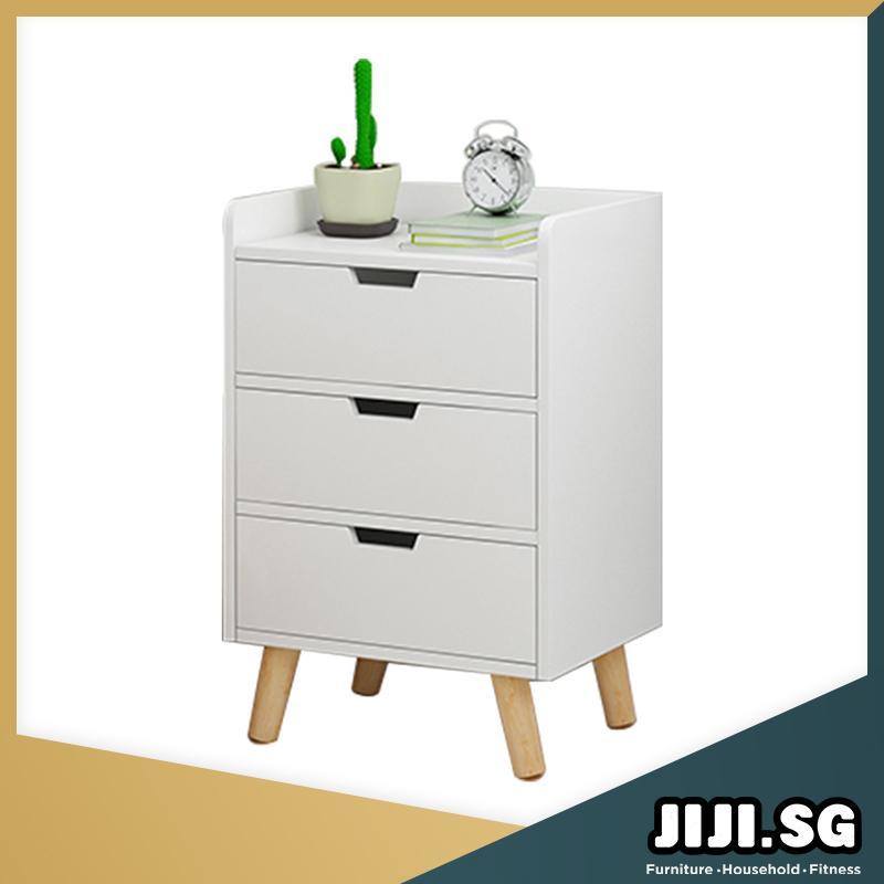 (JIJI SG) HONA Bedside Table (Triple Drawer) (Free Installation) - Bedroom Furniture / Bedside Tables / 6 Months Warranty (SG)