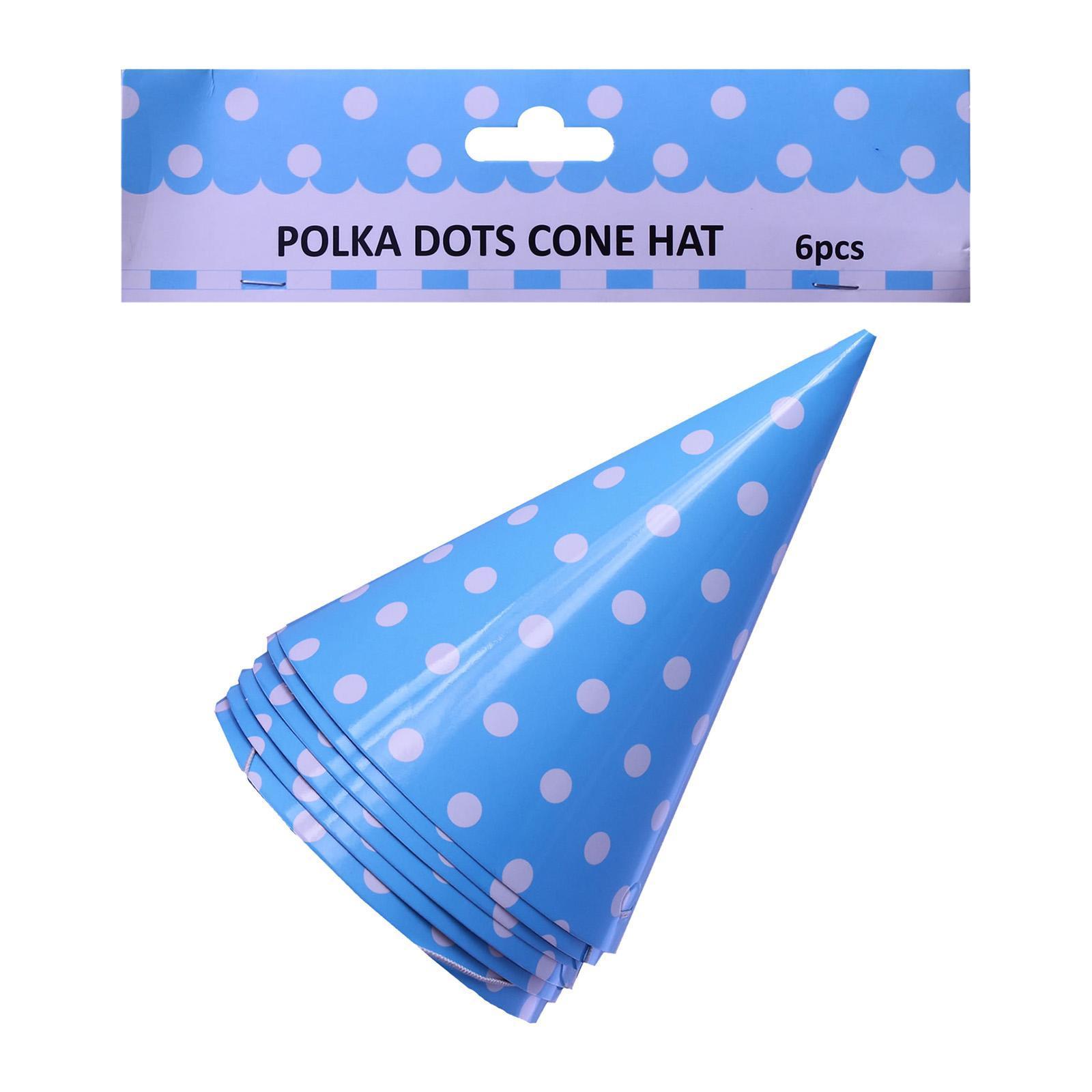 Partyforte Partyforte Polka Dot Blue Party Cone Hats 6S