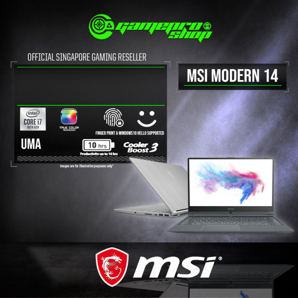 MSI Modern 14  A10RAS Gaming Laptop (I7-10510U/8GB DDR4/512GB SSD/UMA/14.0FHD/W10) - A10M-1016SG (2Y)