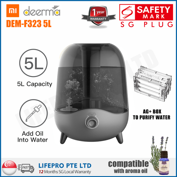 Deerma DEM-F323 5L Ultrasonic Humidifier with Aroma Function/ Singapore Safety Mark Plug/ English Manual/ Up to 12 Months Warranty Singapore