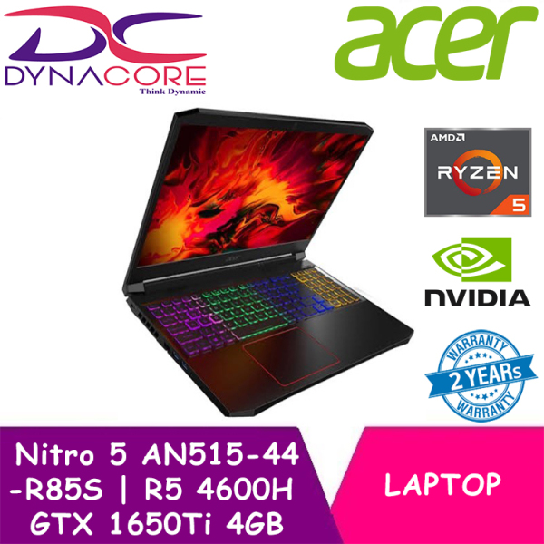 【DELIVERY IN 24 HOURS】 DYNACORE - Acer Nitro 5 RYZEN 5 4600H | AN515-44-R85S | 144Hz Gaming laptop with NVIDIA GTX1650Ti | 8GB / 16GB | 512GB SSD | 2Years Carry-In Local Singapore Warranty