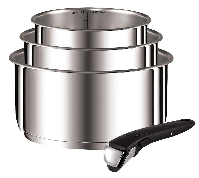 Tefal Ingenio Preference saucepans 16/18/20 cm + 1 Stainless Steel Handle Uncoated All Cooktops Including Induction (Preorder-will ariive in 7-15 working days) Singapore
