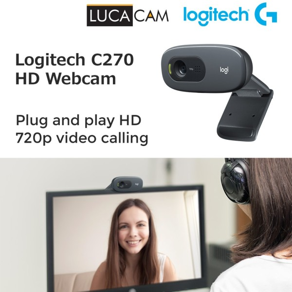 Logitech C270 HD Webcam for Video Conferencing 720P Plug and Play (Ready Stock!)