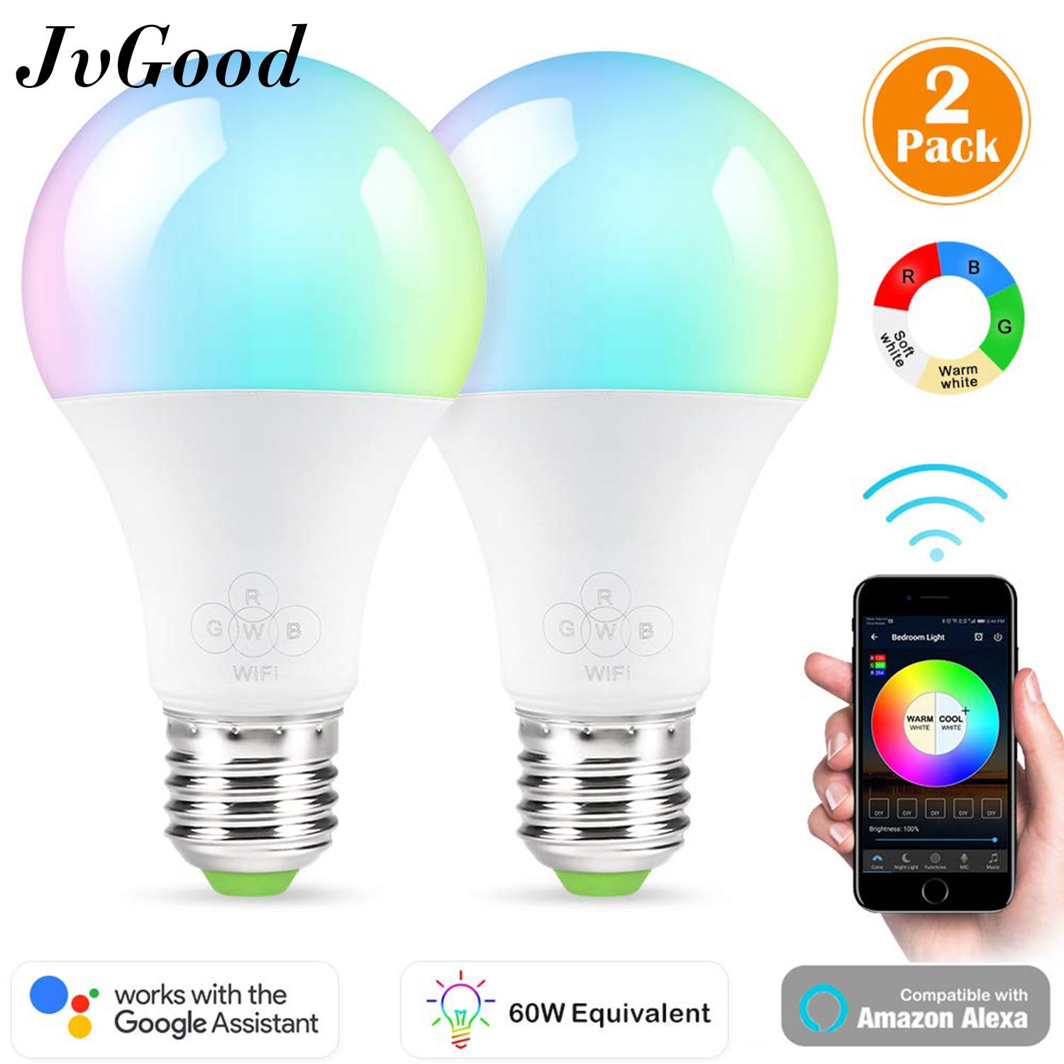 JvGood WiFi Smart Light Bulbs Mulit Colour Colorful Light 4.5W E27 RGB color Dimmable Support Amazon Alexa & Google Home IOS/Android APP Remote Control (2 Packs)
