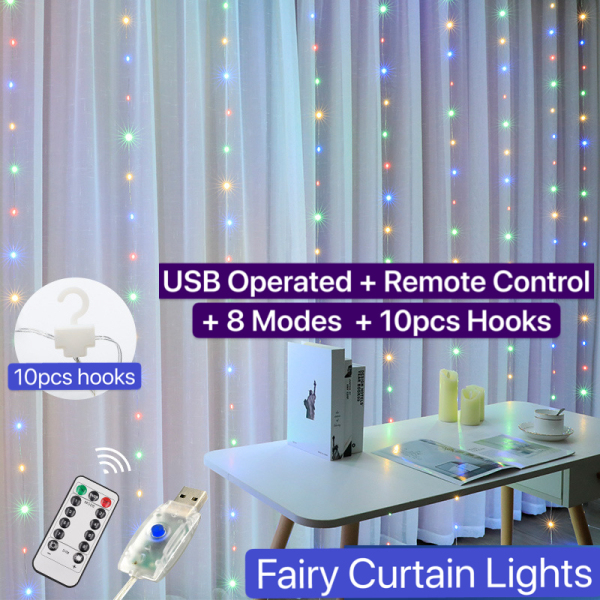 [SG local stcok] 3m x 3m LED Curtain Lights/Drop down fairy lights/USB operated/Waterproof/Remote control/8 modes/300 LEDs