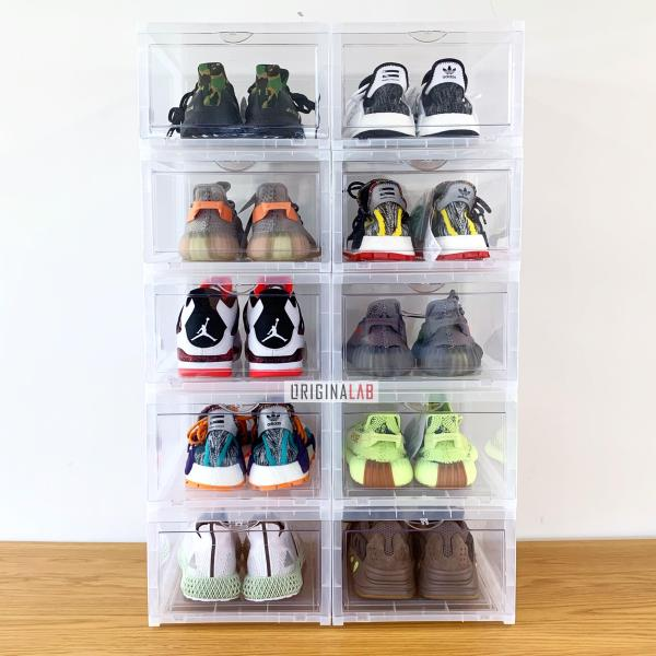 10 BOXES - ORIGINALAB Premium Hard Case Stackable Shoe Box Clear SALE