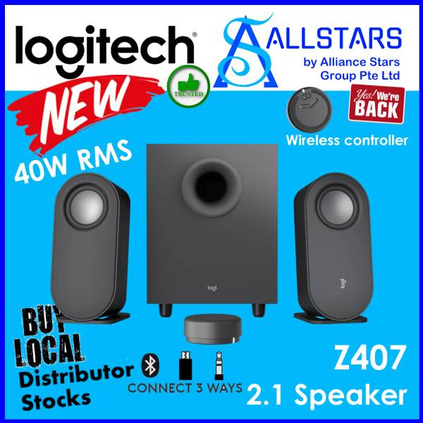 (ALLSTARS : We are Back PROMO) [FREE micro-USB to USB Type-A Cable] Logitech Z407 2.1 Bluetooth Speakers With Subwoofer, Digital Input & Wireless Controller / Connectivity : Bluetooth / 3.5mm Stereo / micro-USB (Warranty 1year with Local Distributor)