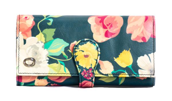 Leather Wallet Women  - Lady Long Wallet - Trifold Wallet Women - Cow Leather Wallet for Women - Branded Designer Wallet - Oxhide Floral Wallet OX36