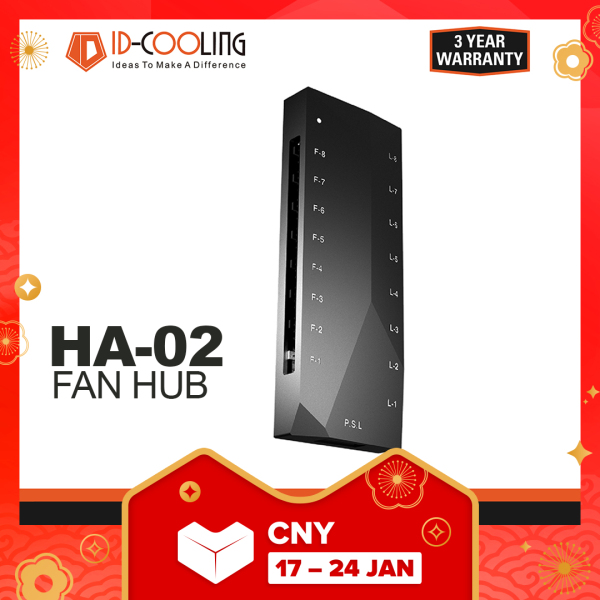 ID-Cooling HA 02, 1 to 8 ARGB + PWM Fan hub, HA-02