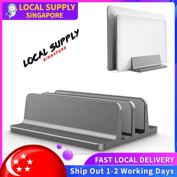 Laptop Stand Vertical  [Adjustable Size], Tablets Holder, Laptop Holder, Double/Single Slot Desktop Stand Holder with Adjustable Dock (Up to 17.3 inch)