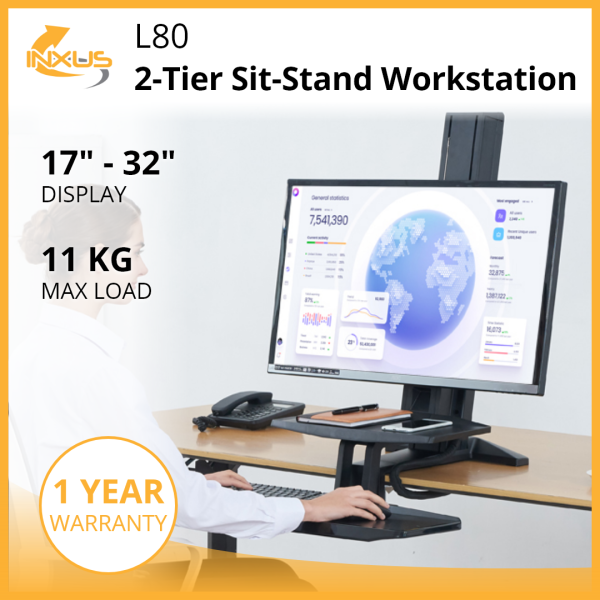 L80 2-Tier Sit-Stand Workstation / Adjustable Height / Single Monitor Desk Mount / Keyboard Tray / International Vesa Compatible