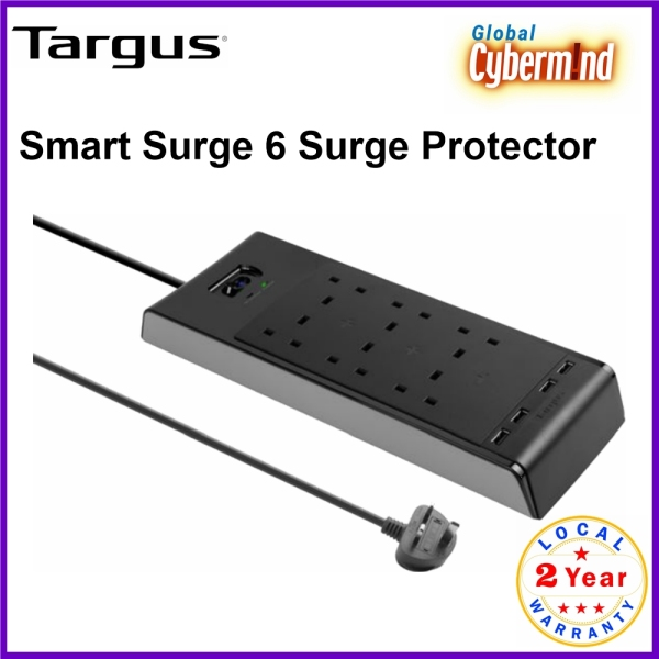 Targus Smart Surge 6 Extension Socket 6 Outlets with 4 USB Ports (Brought to you by Global Cybermind)