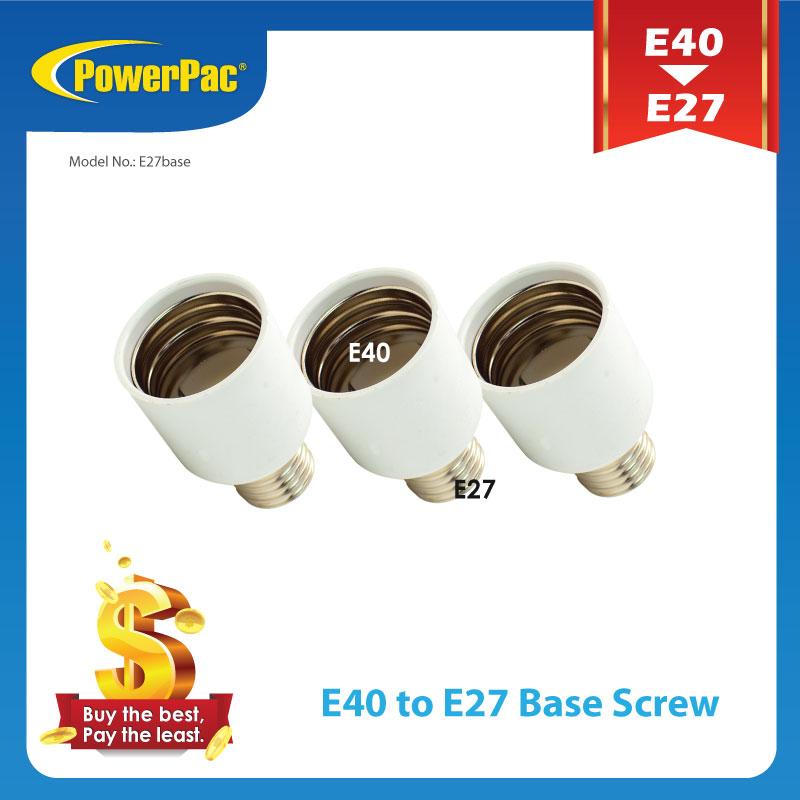 PowerPac 3pcsE40 to E27 LED Bulb Base Adapter Universal Light Converter Lamp Socket Holder (E27base)