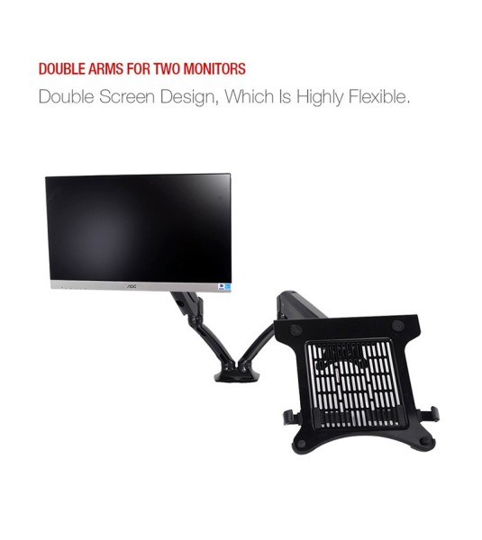 Desktop Full Motion Gas Spring Dual Monitor Mount Display Stand for 10~27 Monitor and 10~15.6 Laptop Max Support 5KG Per Arm