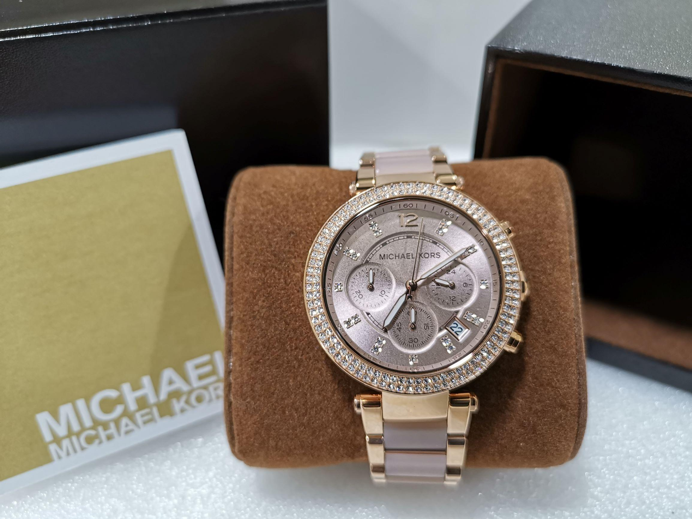 a27197fd7f819 Michael Kors MK5896 Parker Chronograph Rose Gold Blush Dial Ladies Watch