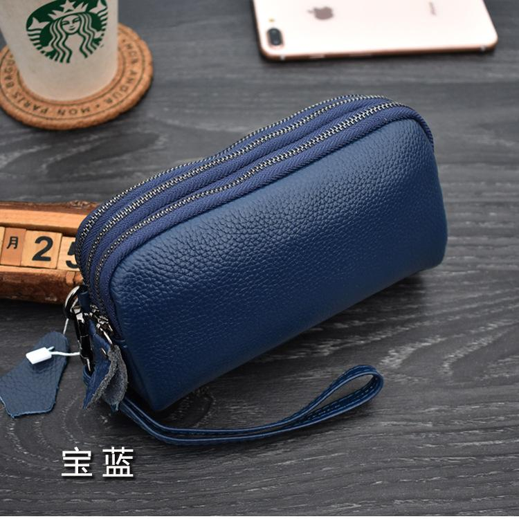 Middle-aged Womens Mom Cowhide Clutch Pouch Three Layer Zipper Multilayer Old Man Grandma Grocery Shopping Purse