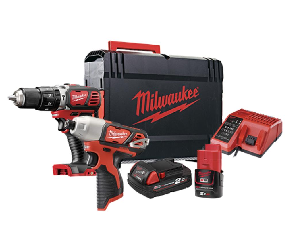 11.11 PROMO : BUY 1 GET 3 FREE ! MILWAUKEE Mixed M12 and M18 Cordless Combo Drill Kit: M12 Impact Driver and M18 Hammer Drill Driver M1218BPP2L-202X