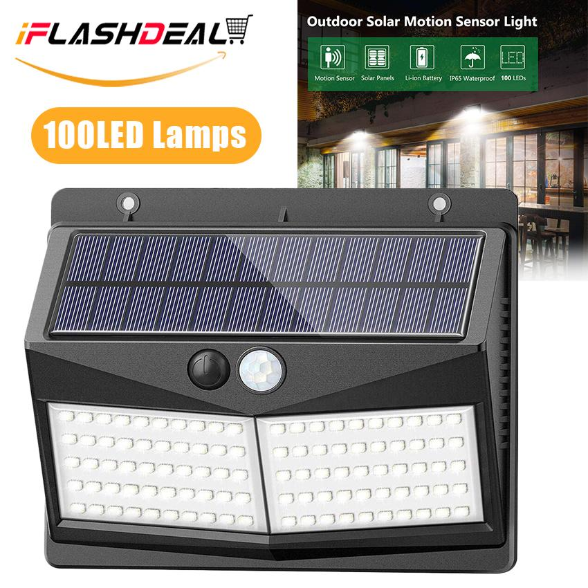 iFlashdeal 100 LED Solar Outdoor Light Garden Path Light with Separable Wall Light Wireless Security Light Motion Sensor Waterproof Lamp for Driveway Garden Path