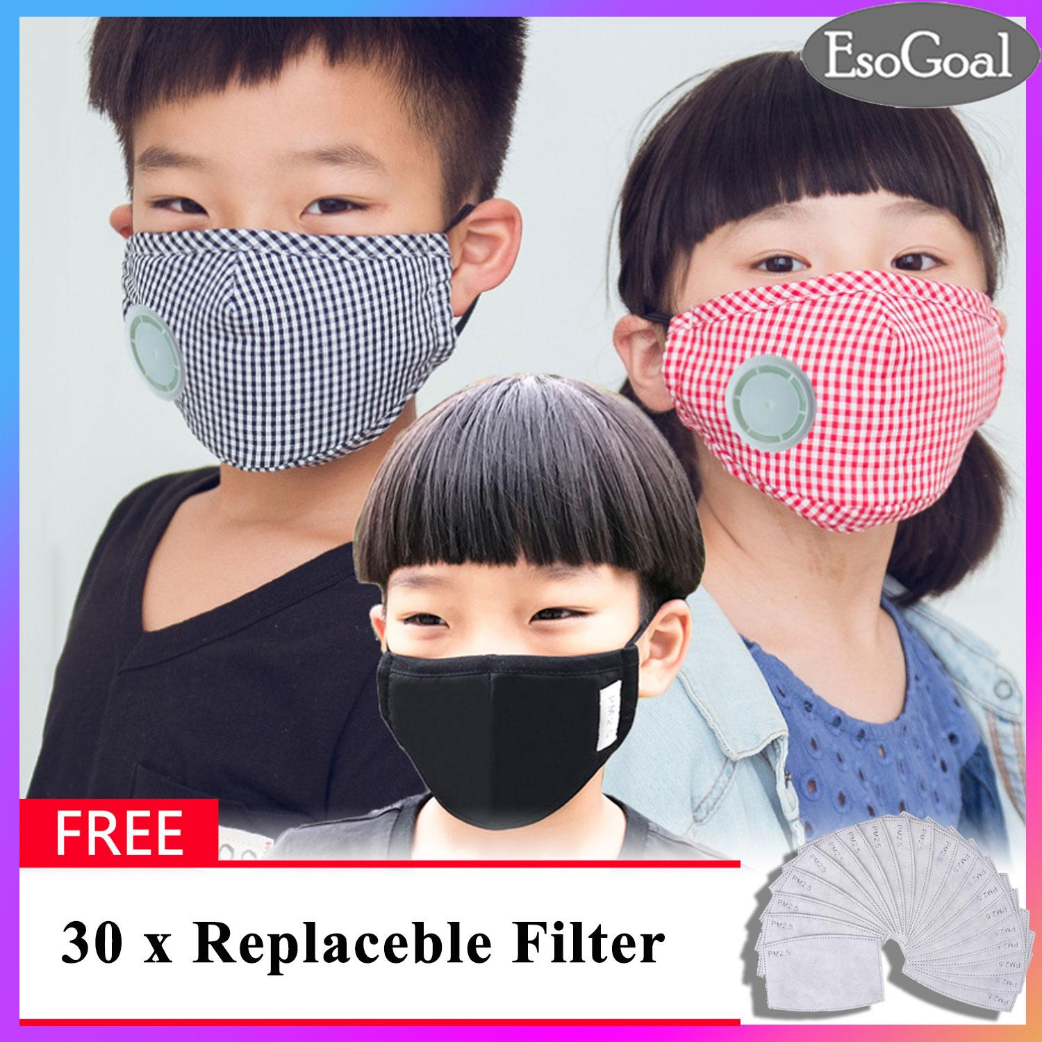 Esogoal 3 Pack Mouth Face Mask Anti-Fog Anti Pm 2.5 Respirator Anti Dust Haze Cycling Pure Cotton Mask Respirator With 30 Replaceable Activated Carbon Filters And Exhaust Valve For Kids By Esogoal.