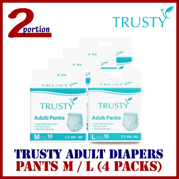 Buy [FREE DELIVERY] [CARTON] Trusty Pull Up Pants M / L 4 packets Adult Diapers Singapore
