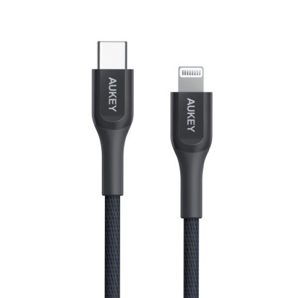 AUKEY CB-AKL3 1.2M Kevlar Core USB C to Lightning Cable MFI for iPhone XS, XS Max, XR, X (18 Months Warranty)