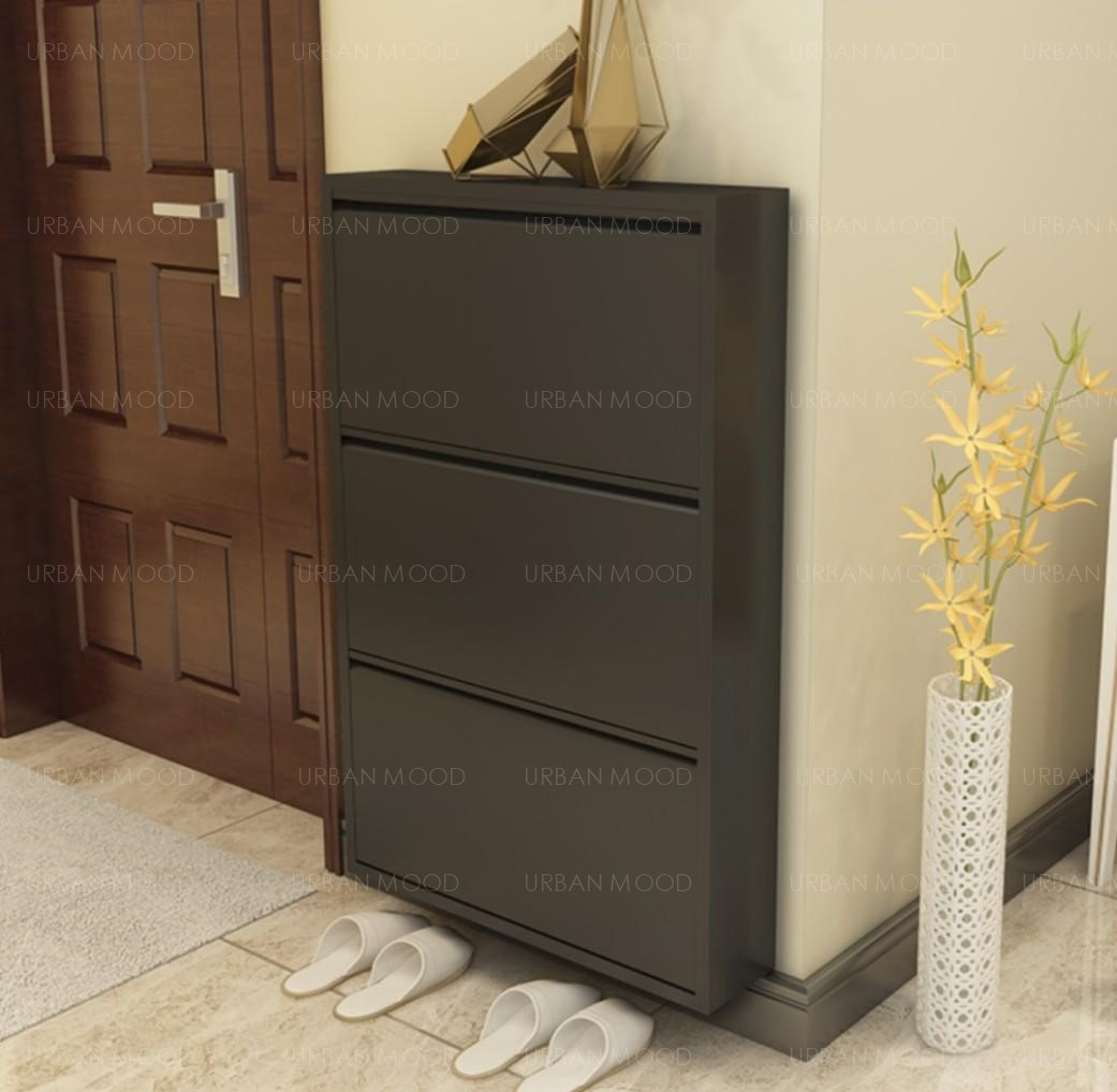 AKANE Japanese Ultra Slim Black White Shoe Cabinet
