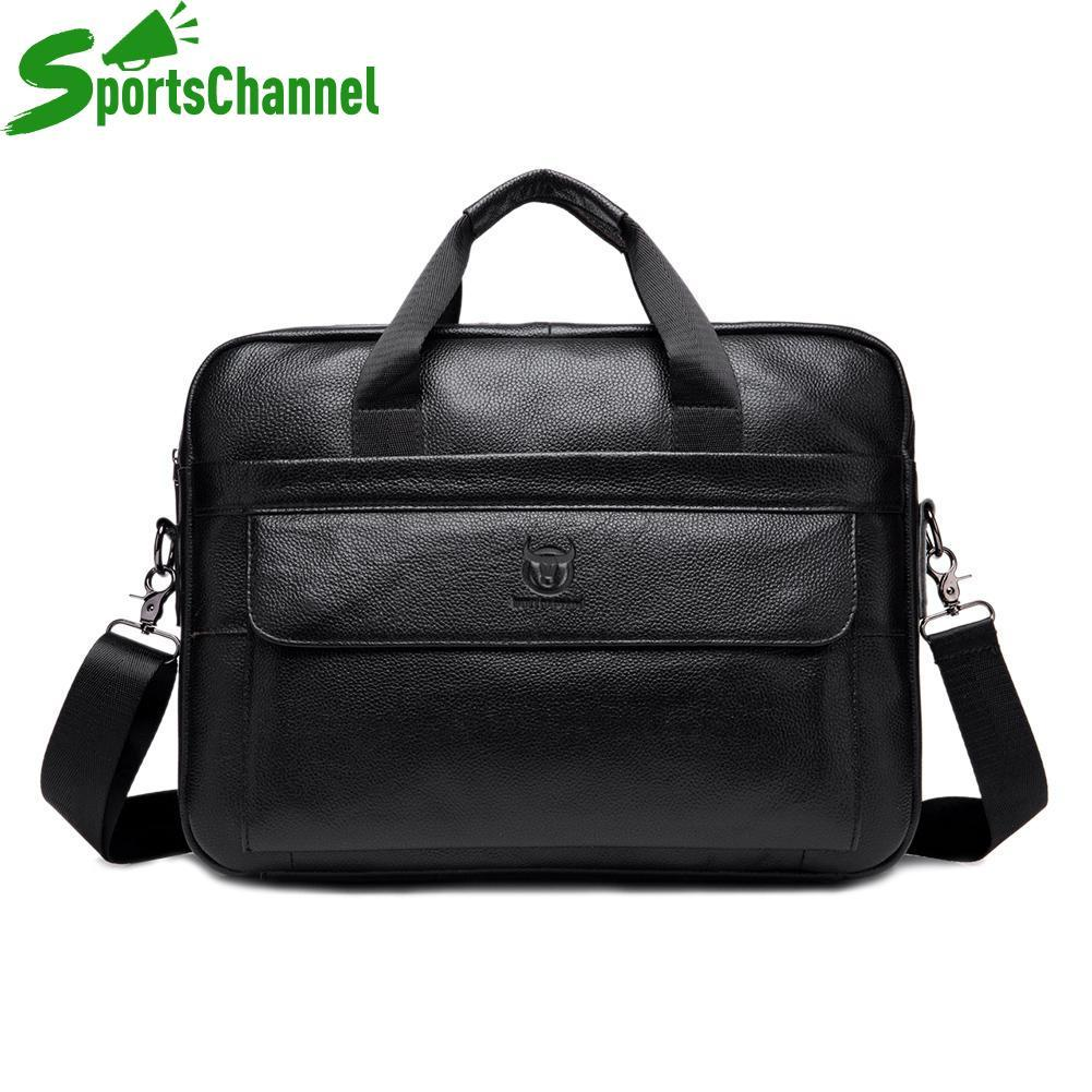 sportschannel Genuine Leather Business Laptop Briefcase Men Solid Color Shoulder Messenger Handbags Casual Crossbody Bags