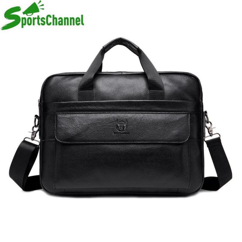 sportschannel Genuine Leather Business Laptop Briefcase Men Solid Color Shoulder Messenger Handbags Casual Crossbody Bags