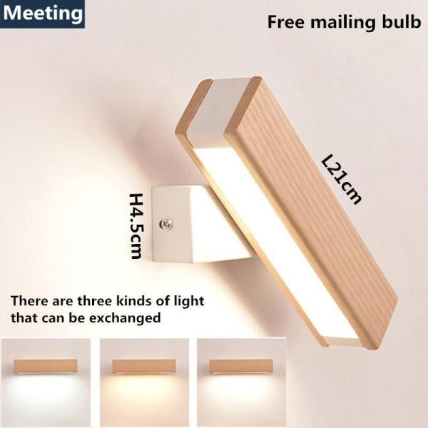 8W Nordic Solid Wood LED Wall Lamp Modern Rotatable Dimming Wall Lamp Bedroom Side / Living Room Aisle Wall Lamp
