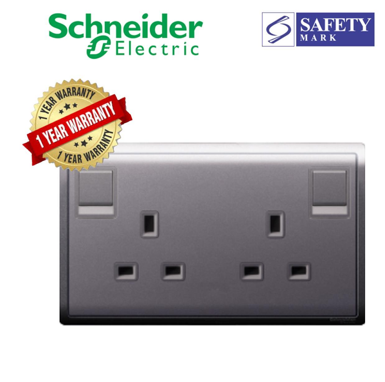 Schneider Electric Pieno- 13A Twin Gang Single Pole Switched Socket, Lavendar Silver