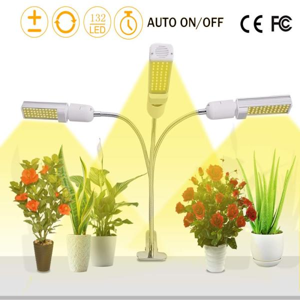 66W Full Spectrum LED Plant Grow Light with Auto Turn On Off Memory Timer Function, Flexible 3 Head Adjustable Gooseneck USB 3A Powered, 5 Dimmable Brightness Control Levels for Indoor Plants at Home or Office Desktop, SG Local Seller Fast Delivery