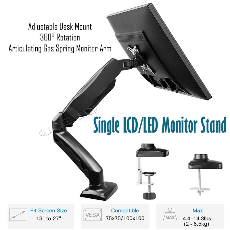 Single LCD Monitor Mount Stand - Articulating Gas Spring Monitor Arm - Adjustable Desk Mount 360 Rotation