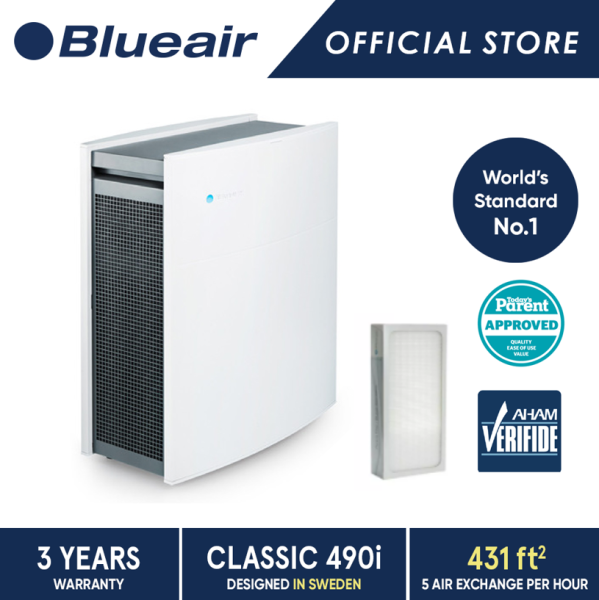 [11.11 Exclusive Bundle] Blueair Air Purifier Classic 490i with DualProtection Filter + Particle Replacement Filter Singapore