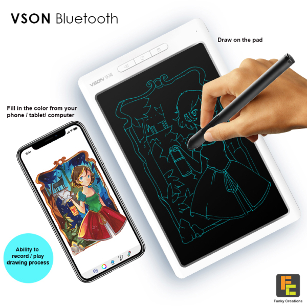 Bluetooth Writing Board VSON 10inch LCD Board with Smart Pen Tablet WP 9612