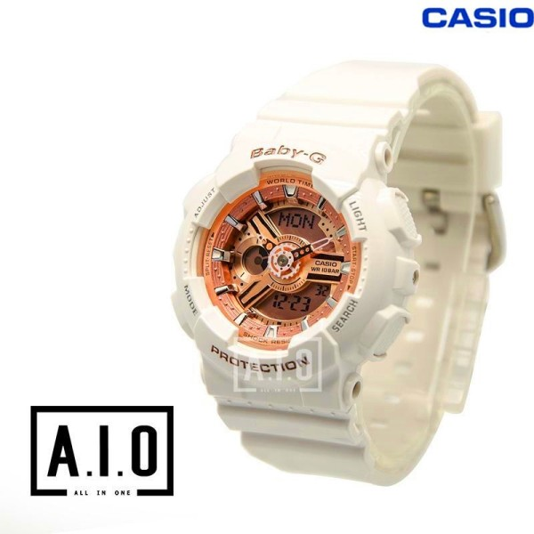 [In stock][BEST]Original BABY G Layered 3D Metallic Face Womens White Resin Strap Watch BA-110-7A1 (jam tangan wanita / casio watch / casio watch women) Malaysia