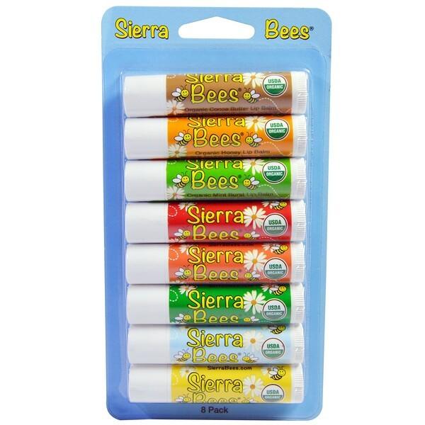 Buy Sierra Bees, Organic Lip Balms Combo Pack, 8 Pack (4.25g) Singapore