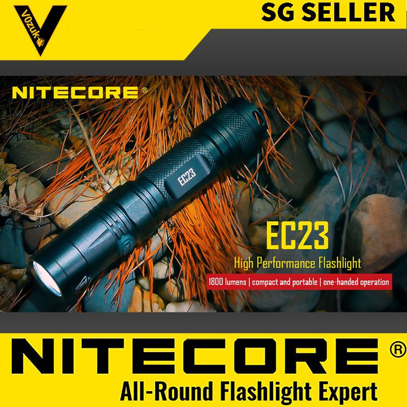 NITECORE EC23 WATERPROOF LED FLASHLIGHT MILITARY GRADE FOR OUTDOORS WITH BATTERY 1800 LUMENS