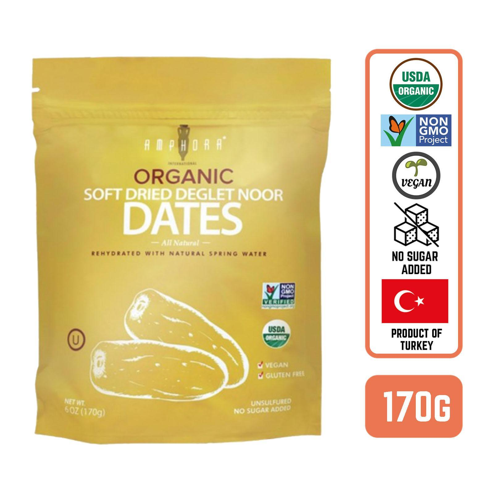 Amphora Soft Dried Organic Dates Deglet Noor - By Foodsterr