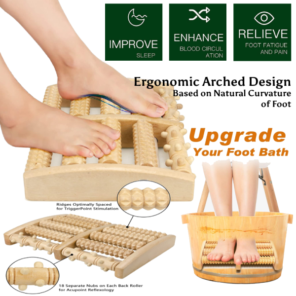 Buy Wooden Massage Roller for Plantar Fasciitis, Stress, Heel and Arch Pain - Acupressure for Feet, Sore Leg Muscles Singapore