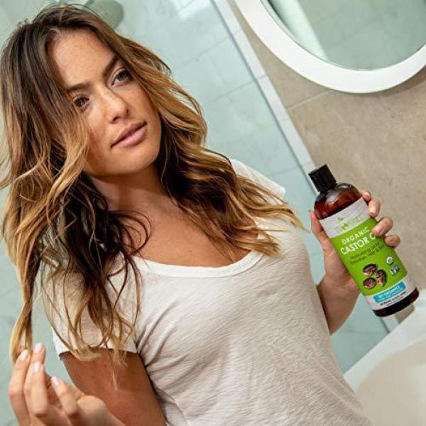 Buy Castor Oil (16oz) USDA Organic Cold-Pressed, 100% Pure, Hexane-Free Castor Oil - Moisturizing & Healing, For Dry Skin, Hair Growth - For Skin, Hair Care, Eyelashes - Caster Oil By Sky Organics Singapore