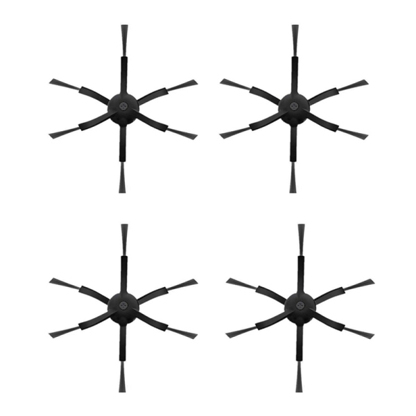 4 Pcs 6 Arms Side Brushes for Xiaomi/Roborock S50 S51 S55 Robot Vacuum Cleaner Brushes Parts Accessories Side Brush(Black)