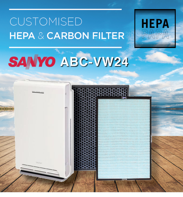 Sanyo ABC-VW24 Replacement HEPA & Carbon Filter [Free Alcohol Swab] [SG Seller] [7 Days Warranty] [HEPAPAPA] Singapore