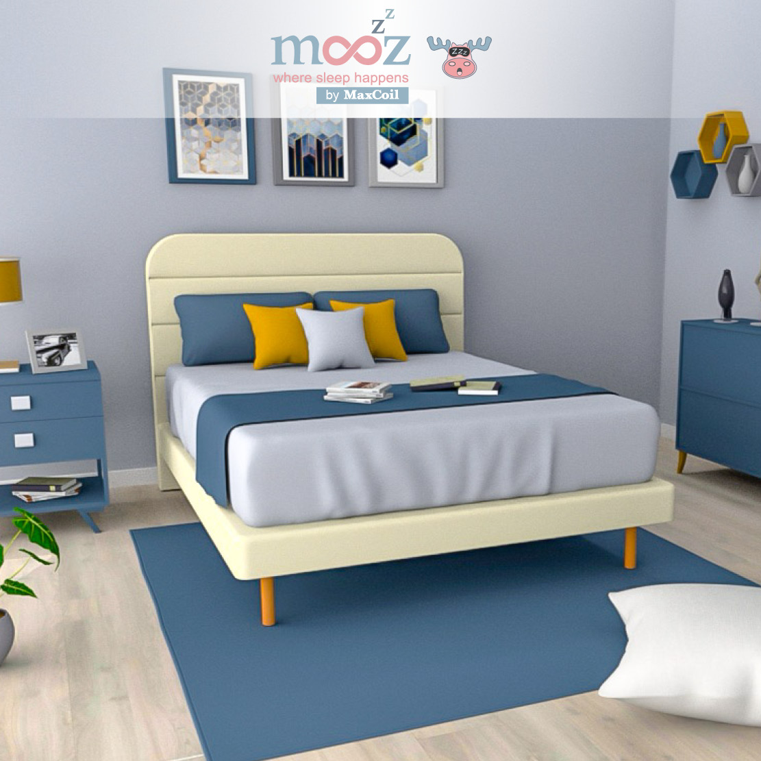 mooZzz Jory 5inch Divan (with Anitra Headboard) | Available in Single, Super Single, Queen and King Sizes